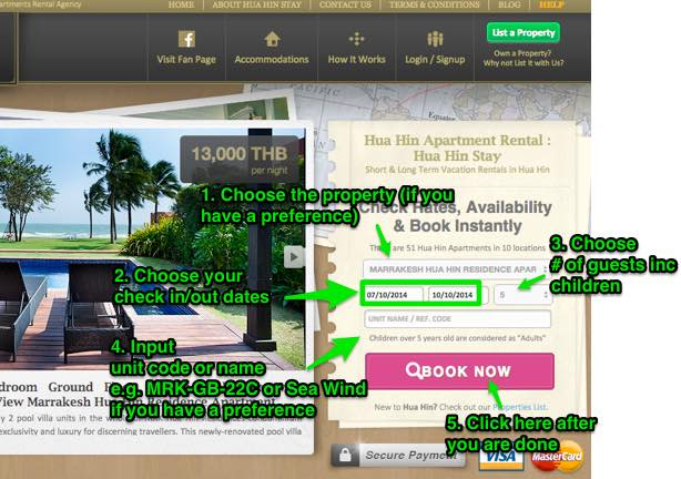 This shows how to search for apartment or room availability on Hua Hin Stay home page